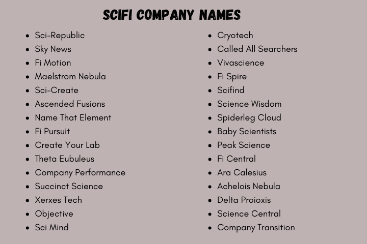 500 Sci Fi Company Names And Suggestions